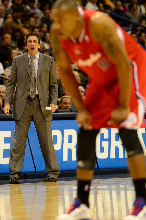 . Los Angeles Clippers head coach Vinny Del Negrom shouts to his team as they play the Denver Nuggets during the second half of the Nugget\'s 92-78 win at the Pepsi Center on Tuesday, January 1, 2013. AAron Ontiveroz, The Denver Post