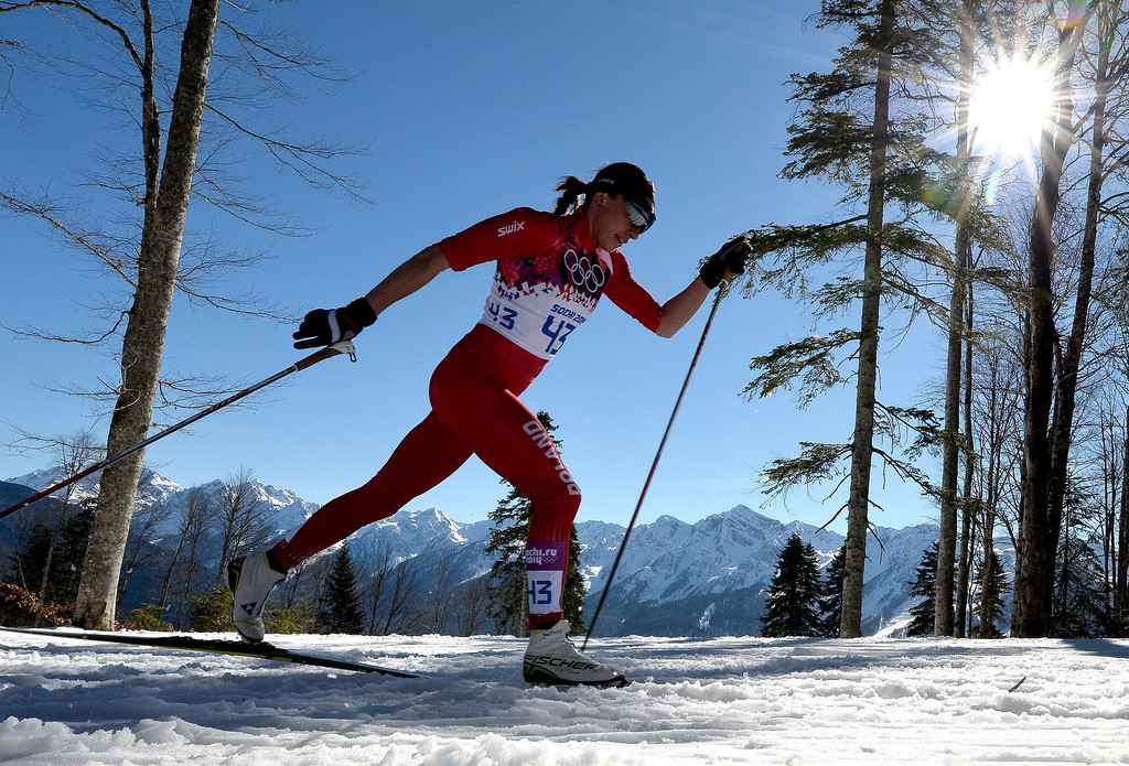 . Poland\'s Justyna Kowalczyk competes to win gold in the Women\'s Cross-Country Skiing 10km Classic at the Laura Cross-Country and Biathlon Center during the Sochi Winter Olympics February 13, 2014 in Rosa Khutor near Sochi.  ALBERTO PIZZOLI/AFP/Getty Images