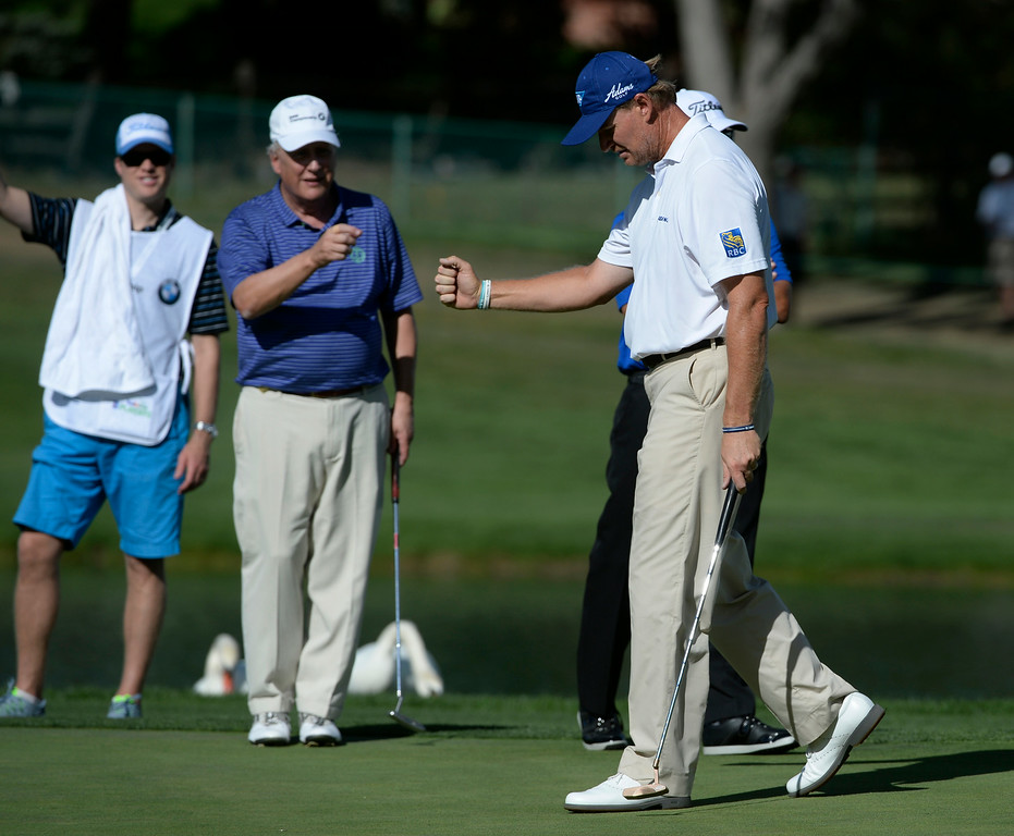 . CHERRY HILLS VILLAGE, CO. - SEPTEMBER 03:  Ernie Els reacts after sinking a putt for a birdie on the 17th hole during the FedExCup BMW Championship Pro-Am at the Cherry Hills Country Club Wednesday, September 03, 2014. (Photo By Andy Cross / The Denver Post)