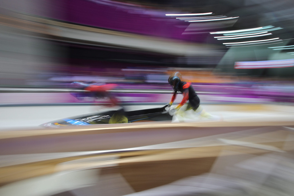 . Thomas Florschuetz (L) and Kevin Kuske of Germany 2 compete in the Two-man Heat 1 Bobsleigh event in Sliding Center Sanki at the Sochi 2014 Olympic Games, Krasnaya Polyana, Russia, on Feb. 16, 2014. EPA/Fredrik Von Erichsen