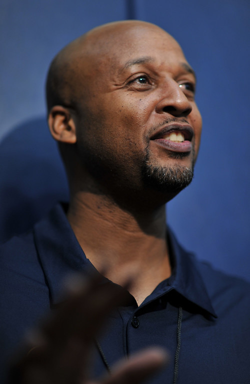 . Denver Nuggets head coach Brian Shaw is answering questions from media after the practice. The Denver Nuggets take the court for their first official practice under new coach Shaw at Pepsi Center. Denver, Colorado. October 1, 2013. (Photo by Hyoung Chang/The Denver Post)