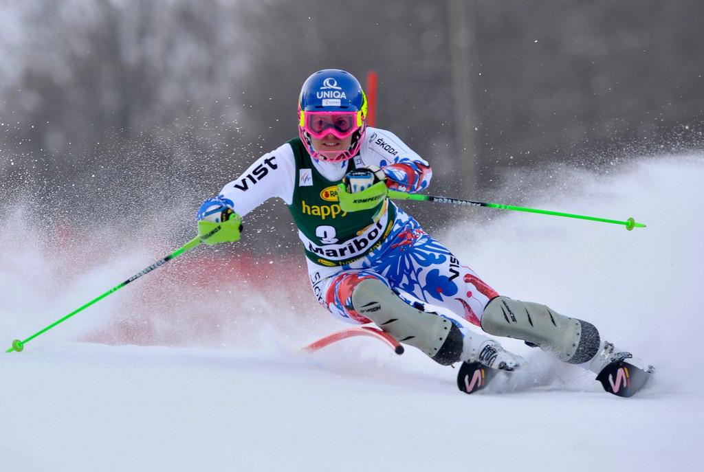 . Veronika Velez Zuzulova of Slovakia clears a gate during the first run of the Alpine Skiing World Cup women\'s slalom ski race in Maribor January 27, 2013. REUTERS/Srdjan Zivulovic