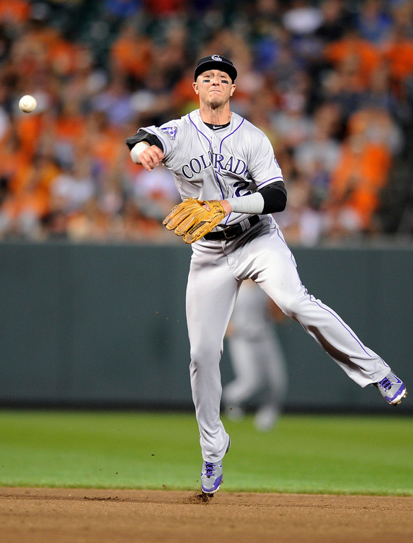 . Colorado Rockies shortstop Troy Tulowitzki (2) throws to first to get out Baltimore Orioles\' J.J. Hardy during the fourth inning of a baseball game, Friday, Aug. 16, 2013, in Baltimore. (AP Photo/Nick Wass)