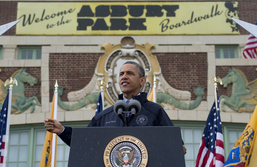 . US President Barack Obama speaks about rebuilding efforts following last year\'s Hurricane Sandy at the Asbury Park Convention Hall in Asbury Park, New Jersey, on May 28, 2013.    AFP PHOTO / Saul LOEB/AFP/Getty Images