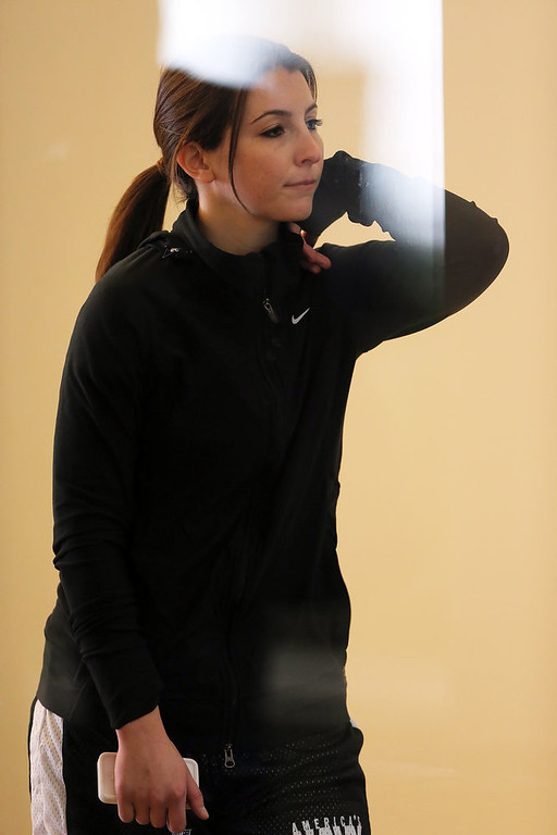 . Lauren Silberman waits for her group to be called during the NFL Regional Scouting Combine on March 3, 2013 at the Atlantic Health Training Center in Floram Park, New Jersey. Silberman is the first female to try out for the NFL.  (Photo by Elsa/Getty Images)