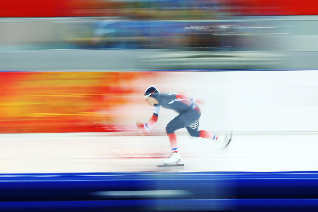 . SOCHI, RUSSIA - FEBRUARY 15:  Ewen Fernandez of France competes during the Men\'s 1500m Speed Skating event on day 8 of the Sochi 2014 Winter Olympics at Adler Arena Skating Center on February 15, 2014 in Sochi, Russia.  (Photo by Quinn Rooney/Getty Images)