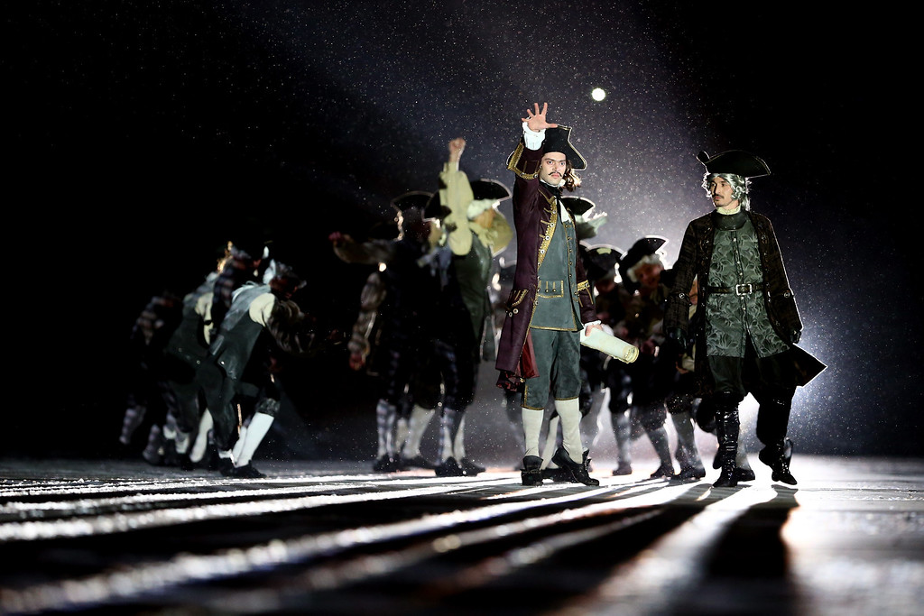 . Actors perform as characters from the time of Peter the Great during the Opening Ceremony of the Sochi 2014 Winter Olympics at Fisht Olympic Stadium on February 7, 2014 in Sochi, Russia.  (Photo by Ryan Pierse/Getty Images)