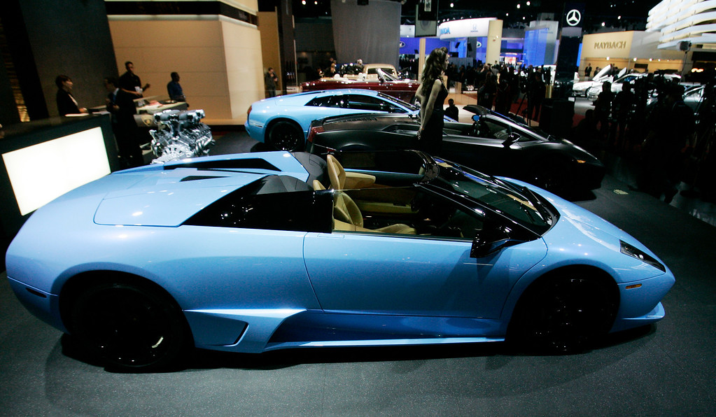 . Lamborghini Murcielago LP640 Roadstar, front, and others are introduced at the North American International Auto Show Sunday, Jan. 13, 2008 in Detroit. (AP Photo/Paul Sancya)