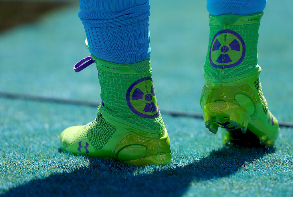 . A general view of the shoes of Cam Newton #1 of the Carolina Panthers as he warms up before their game against the New York Giants at Bank of America Stadium on September 22, 2013 in Charlotte, North Carolina.  (Photo by Streeter Lecka/Getty Images)