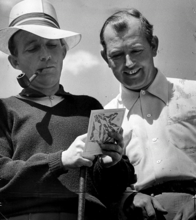 . Four stars, Bob Hope and Bing Crosby of the screen and Ed Dudley and Lawson Little of the golf links appeared in an eighteen-hole golf match at Cherry Hills Country club in 1941. Entertainment, featuring Hope and Crosby  followed. Admission was $1 for adults, and half price for children. All receipts went to Denver army relief. Denver Post Library photo archive