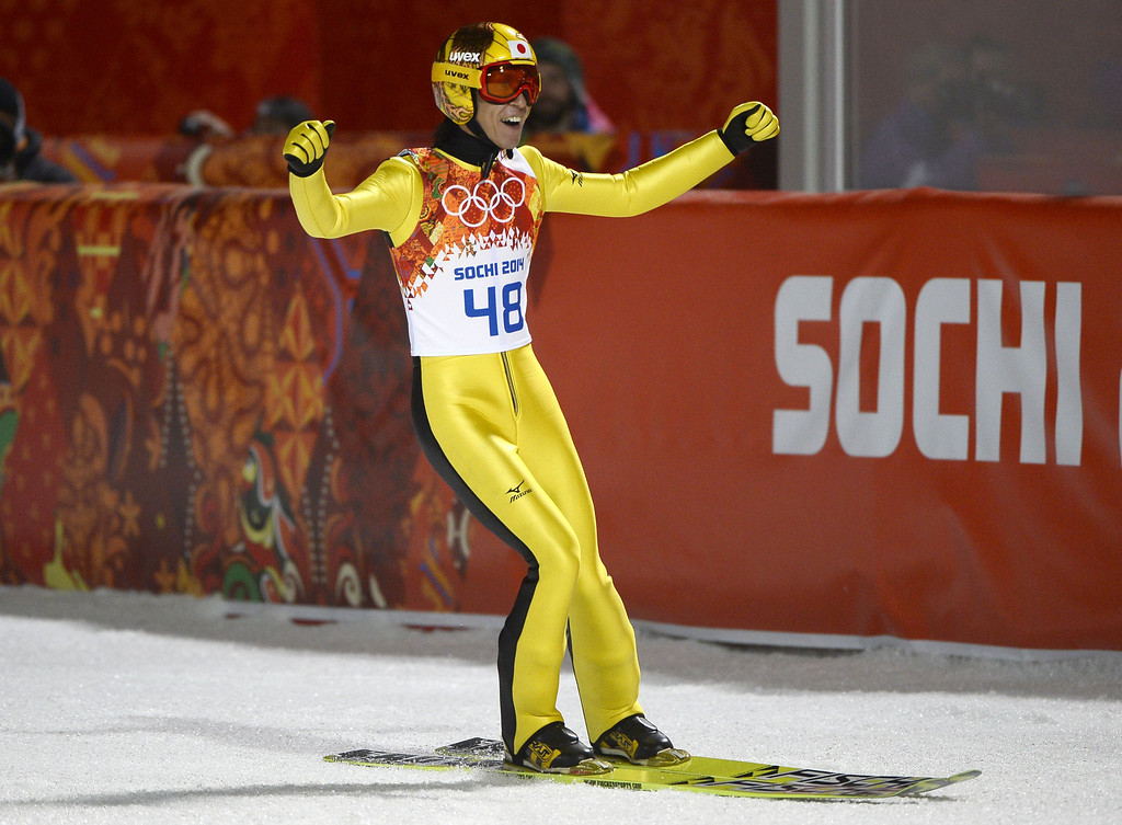 . Japan\'s Noriaki Kasai arrives in the finish area of the Men\'s Ski Jumping Large Hill Individual Final Round at the RusSki Gorki Jumping Center during the Sochi Winter Olympics on February 15, 2014, in Rosa Khutor. PIERRE-PHILIPPE MARCOU/AFP/Getty Images