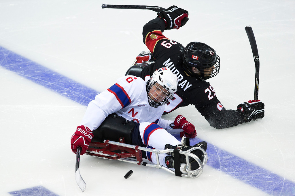 . Graeme Murray of Canada, top, and Emil Kirstistuen of Norway in action during an ice sledge hockey match between Canada and Norway at the 2014 Winter Paralympics in Sochi, Russia, Sunday, March 9, 2014. Canada won 4-0. (AP Photo/Pavel Golovkin)