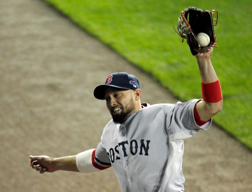 . Boston Red Sox right fielder Shane Victorino makes a catch on a Detroit Tigers\' Miguel Cabrera fly ball in the seventh inning during Game 4 of the American League baseball championship series Wednesday, Oct. 16, 2013, in Detroit. (AP Photo/Charlie Riedel)