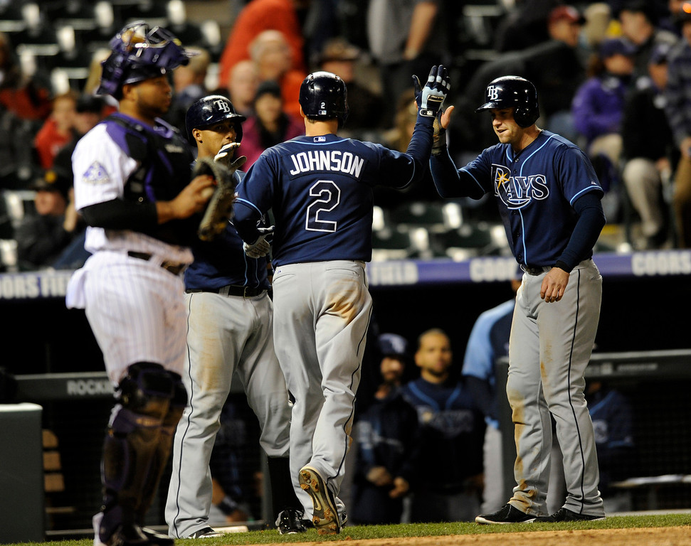 . Tampa Bay Rays\' Kelly Johnson is congratulated by teammates after hitting a two-run home run off Colorado Rockies relief pitcher Matt Belisle during the tenth inning of a baseball game on Friday, May 3, 2013, in Denver. (AP Photo/Jack Dempsey)