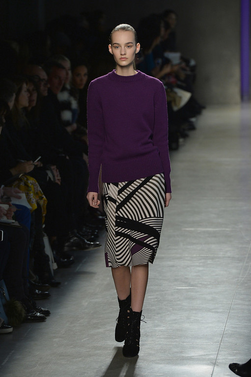 . A model walks the runway during the Bottega Veneta show as part of Milan Fashion Week Womenswear Autumn/Winter 2014 on February 22, 2014 in Milan, Italy.  (Photo by Tullio M. Puglia/Getty Images)