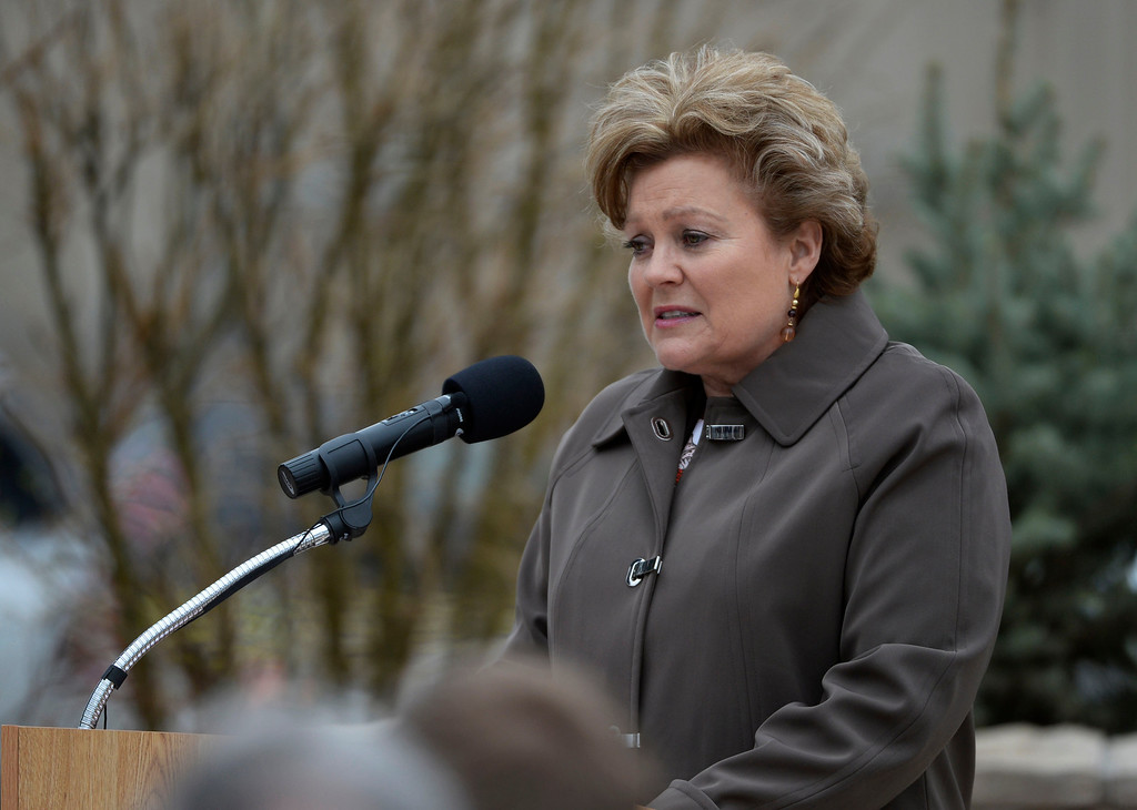 . Wife of fallen Colorado Department of Corrections executive director, Tom Clements, Lisa Clements, speaks at the DOC Fallen Officer Memorial honoring the head of the DOC, Tom Clements, at the Territorial Correctional Facility park Saturday morning, March 15, 2014.  (Photo By Andy Cross / The Denver Post)
