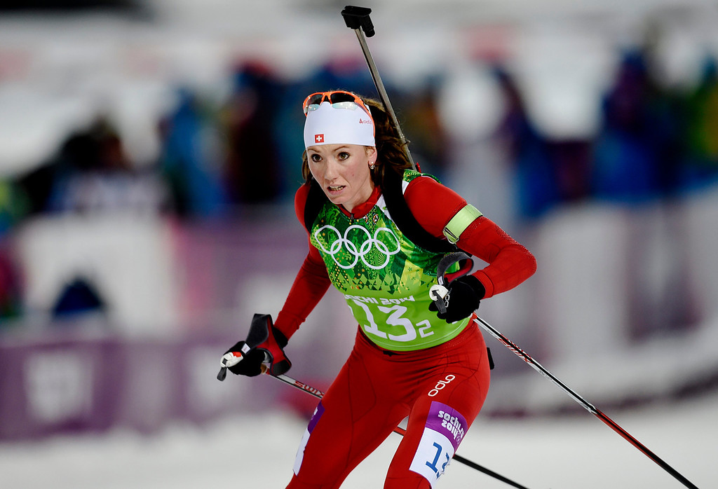 . Selina Gasparin of Switzerland in action during the Mixed Relay competition at the Laura Cross Biathlon Center during the Sochi 2014 Olympic Games, Krasnaya Polyana, Russia, 19 February 2014.  EPA/VALDRIN XHEMAJ