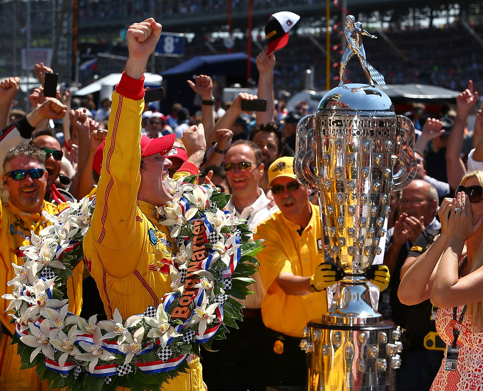 . INDIANAPOLIS - MAY 25:  Ryan Hunter-Reay driver of the #28 DHL Andretti Autosport Honda Dallara celebrates winning the 98th running of the Indianapolis 500 Mile Race on May 24, 2014 at the Indianapolis Motor Speedway in Indianapolis, Indiana.  (Photo by Jonathan Ferrey/Getty Images)