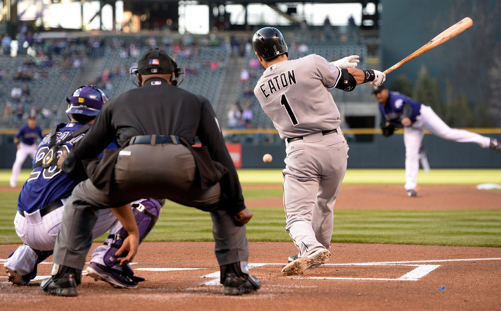 . Chicago batter Adam Eaton singled to center off Colorado starter Franklin Morales in the first inning.    (Photo by Karl Gehring/The Denver Post)
