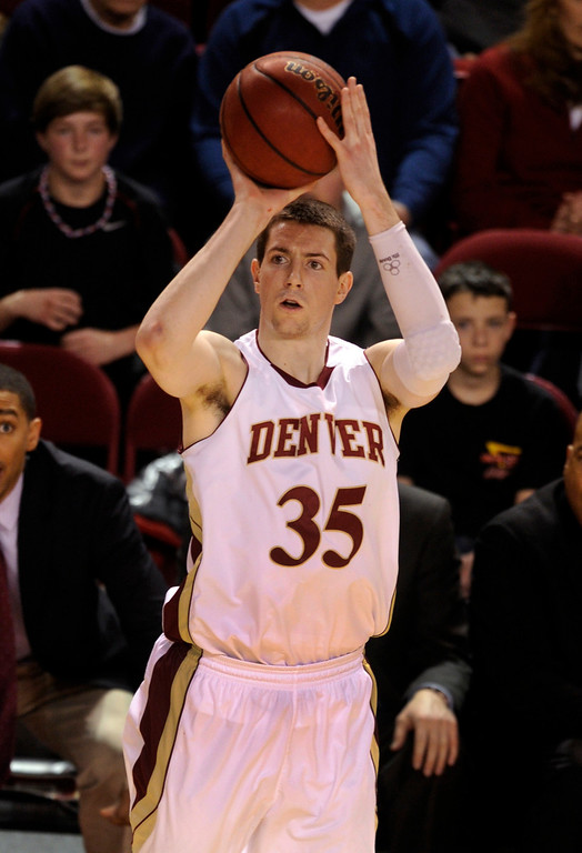 . Denver forward Marcus Byrd (35) found an open shot from outside in the second half. The University of Denver men\'s basketball team defeated the Louisiana Tech Bulldogs 78-54 at Magness Arena Saturday night, March 9, 2013. (Photo By Karl Gehring/The Denver Post)