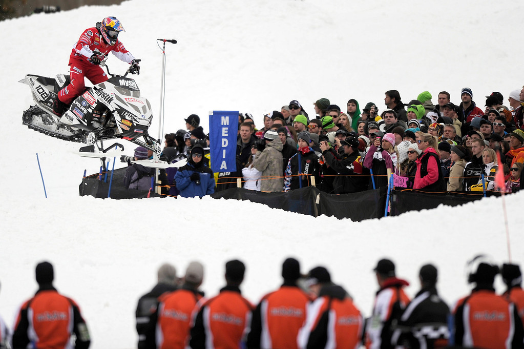 . ASPEN, CO - January 26: Levi LaVallee races during the Snowmobile Speed & Style event at Winter X Games Aspen 2013 at Buttermilk Mountain on Jan. 26, 2013, in Aspen, Colorado. LaVallee won the gold medal in the event. (Photo by Daniel Petty/The Denver Post)