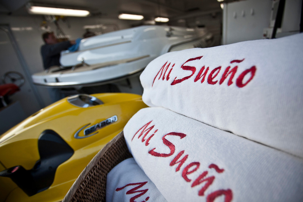 . The ship\'s name sits embroidered on towels onboard the 190ft (57.9m) motor yacht Mi Sueno, manufactured by Trinity Yachts LLC, as it sits moored in the harbor in Nice, France, on Wednesday, Sept. 25, 2013.  Photographer: Balint Porneczi/Bloomberg