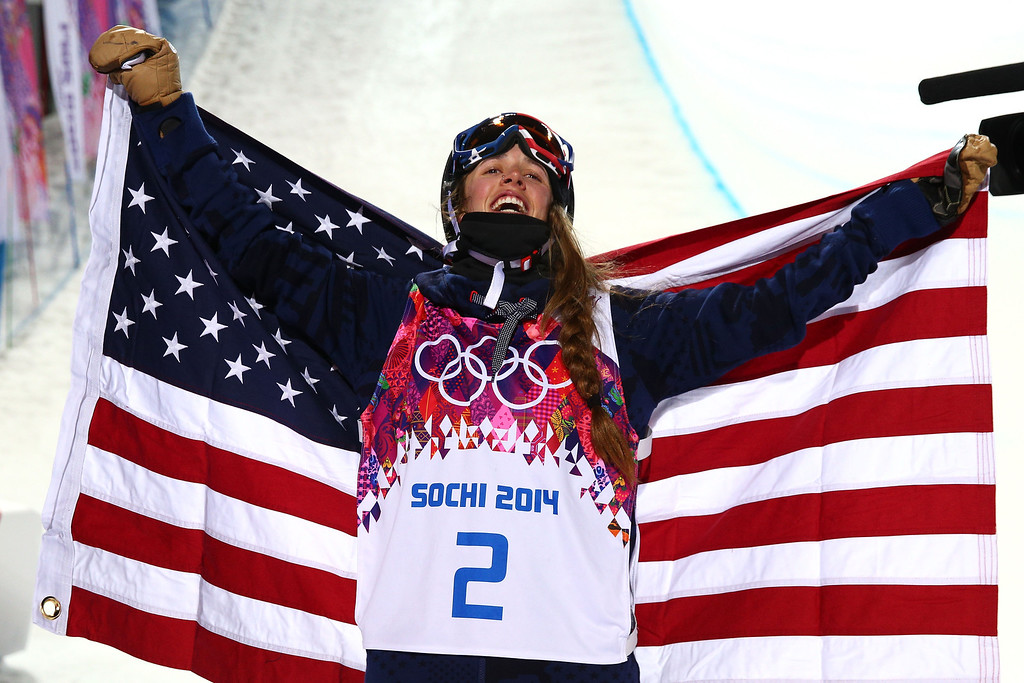 . Maddie Bowman of the United States celebrates winning the gold medal in the Freestyle Skiing Ladies\' Ski Halfpipe Finals on day thirteen of the 2014 Winter Olympics at Rosa Khutor Extreme Park on February 20, 2014 in Sochi, Russia.  (Photo by Cameron Spencer/Getty Images)