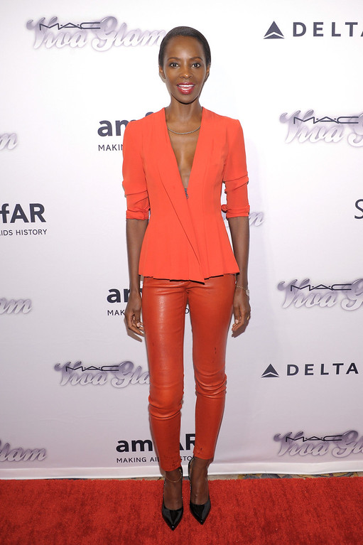 . NEW YORK, NY - JUNE 13:  Model Kiara Kabukuru attends the 4th Annual amfAR Inspiration Gala New York at The Plaza Hotel on June 13, 2013 in New York City.  (Photo by Michael Loccisano/Getty Images)