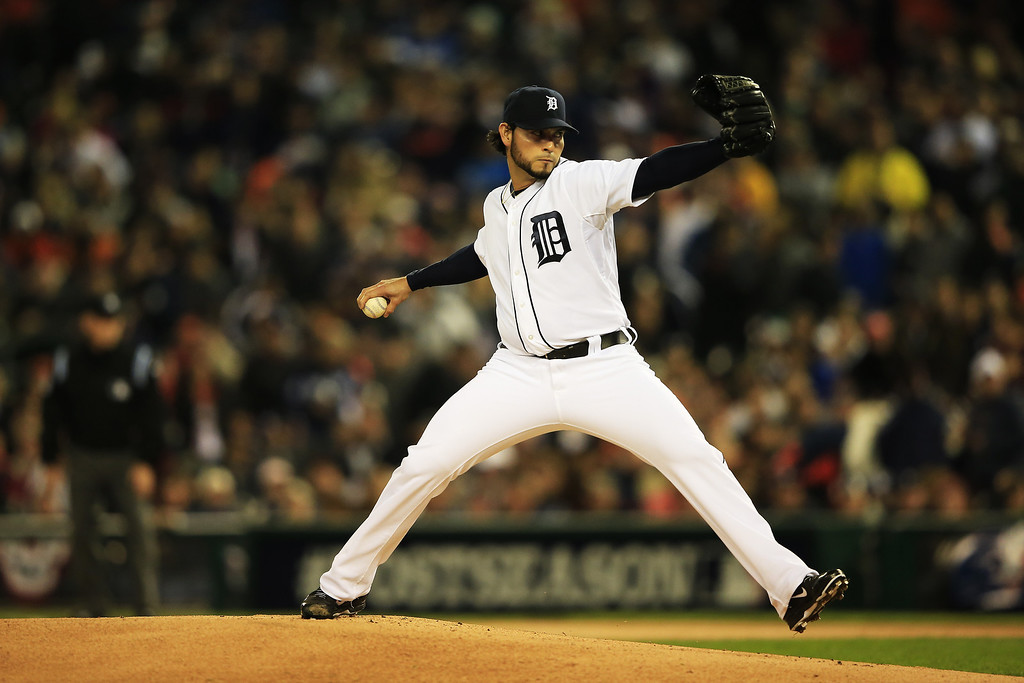 . Anibal Sanchez #19 of the Detroit Tigers pitches in the first inning against the Boston Red Sox during Game Five of the American League Championship Series at Comerica Park on October 17, 2013 in Detroit, Michigan.  (Photo by Jamie Squire/Getty Images)