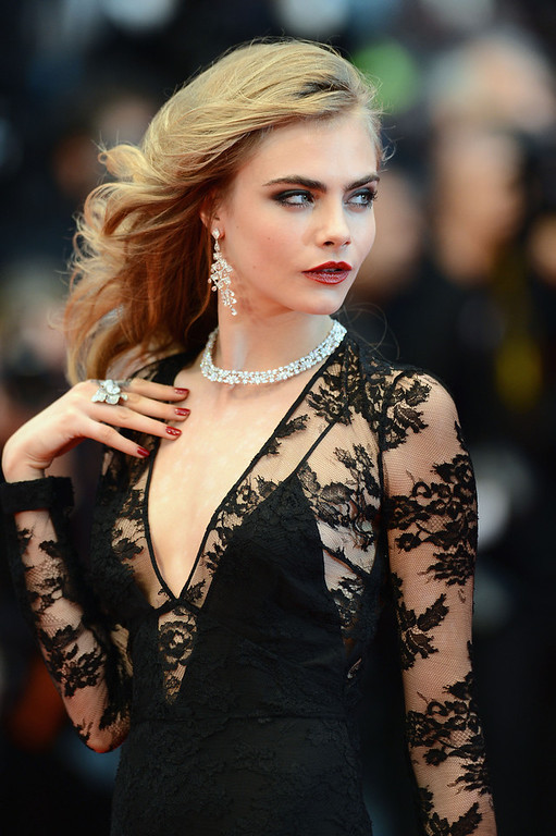. Model Cara Delevingne attends the Opening Ceremony and \'The Great Gatsby\' Premiere during the 66th Annual Cannes Film Festival at the Theatre Lumiere on May 15, 2013 in Cannes, France.  (Photo by Ian Gavan/Getty Images)