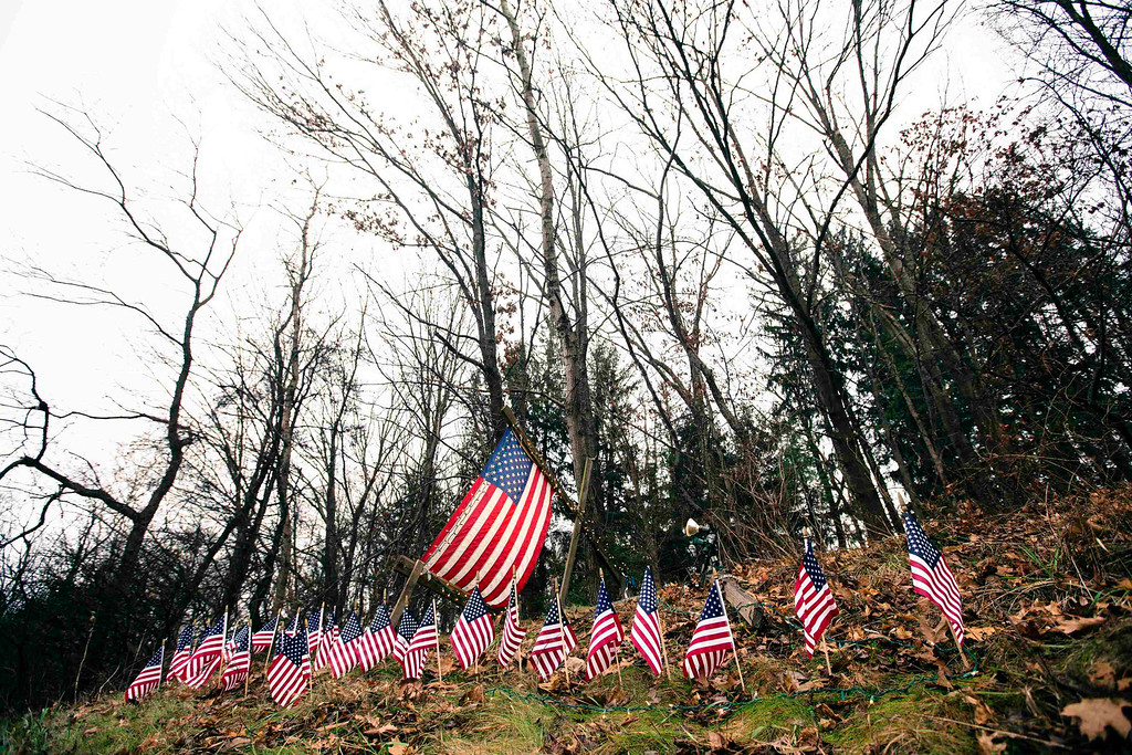 . A memorial to victims of a school shooting of 27 small U.S. flags stands in the rain on the side of Interstate 84 in Newtown, Connecticut December 16, 2012. Worshippers filled Sunday services to mourn the victims of a gunman\'s rampage at Sandy Hook Elementary School that killed 20 children and six adults with the president due to appear later at an interfaith vigil to help this shattered Connecticut town recover. REUTERS/Lucas Jackson