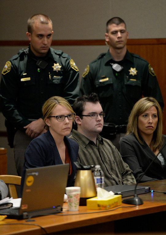 . Austin Sigg looked forward at the judge, in Jefferson County Court in Golden, as his sentence was read, November 19, 2013. Sigg, who pleaded guilty to the kidnapping and murder of 10-year-old Jessica Ridgeway, was in Courtroom 1-A with Chief Judge Stephen M. Munsinger presiding over the hearing. (Photo by RJ Sangosti/The Denver Post)