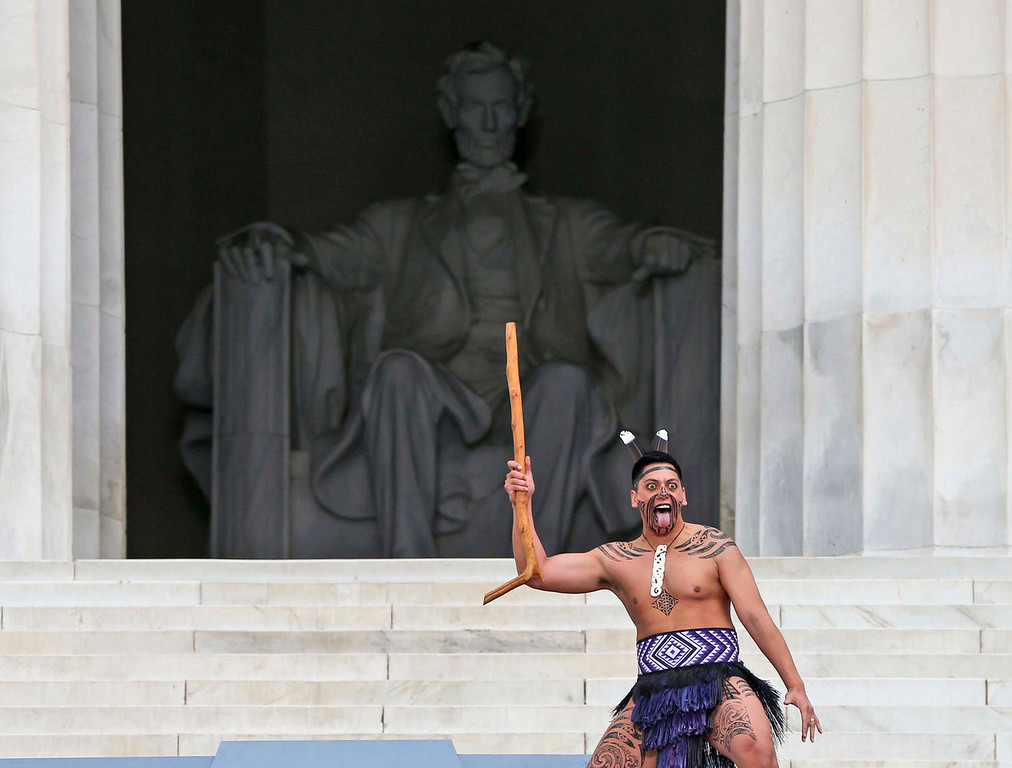 . The Maori Dancers perform at the 50th Anniversary of the March on Washington where Martin Luther King, Jr., spoke, Wednesday, Aug. 28, 2013, at the Lincoln Memorial in Washington. (AP Photo/Charles Dharapak)
