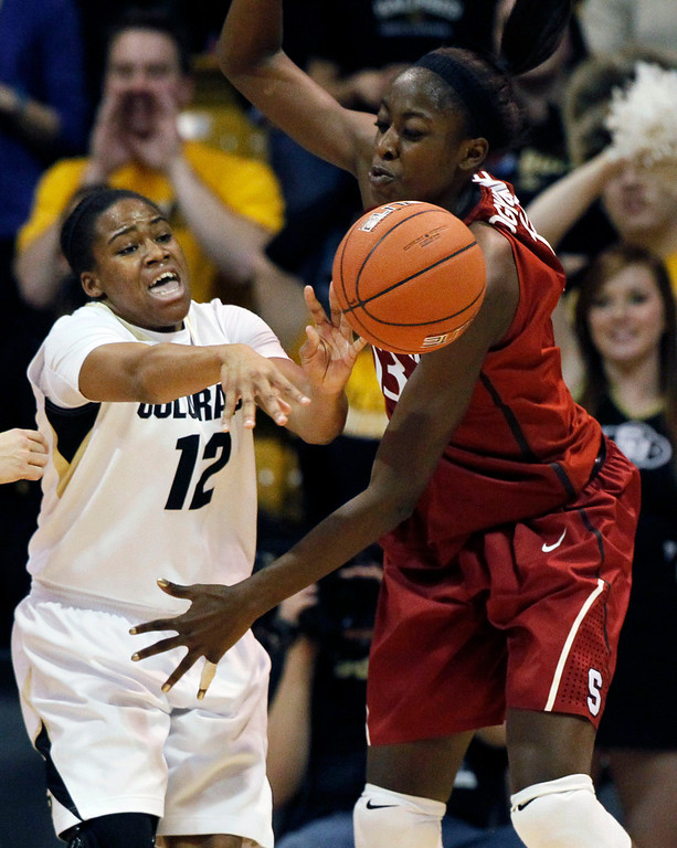 . Colorado guard Ashley Wilson, left, passes ball under pressure by Stanford forward Chiney Ogwumike in the first half of an NCAA women\'s college basketball game in Boulder, Colo., on Friday, Jan. 4, 2013. (AP Photo/David Zalubowski)