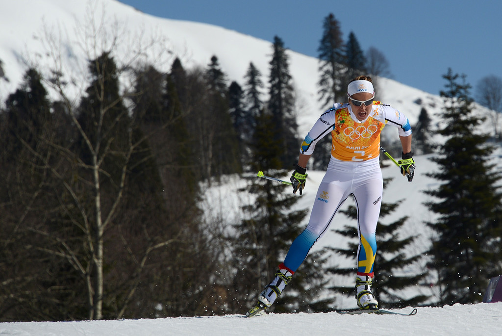 . Sweden\'s Anna Haag competes in the Women\'s Cross-Country Skiing 4x5km Relay at the Laura Cross-Country Ski and Biathlon Center during the Sochi Winter Olympics on February 15, 2014, in Rosa Khutor, near Sochi. Sweden won the gold Medal, Finland won Silver and Germany Bronze. KIRILL KUDRYAVTSEV/AFP/Getty Images