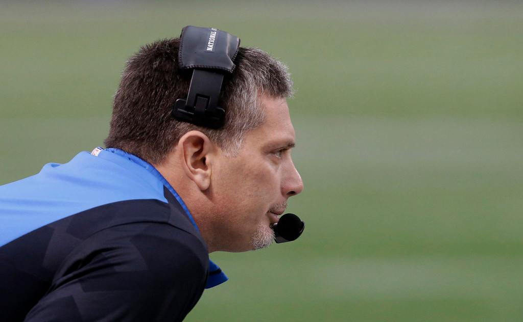 . Detroit Lions head coach Jim Schwartz looks on from the sideline during the first half of an NFL football game against the Minnesota Vikings, Sunday, Dec. 29, 2013, in Minneapolis. (AP Photo/Jim Mone)