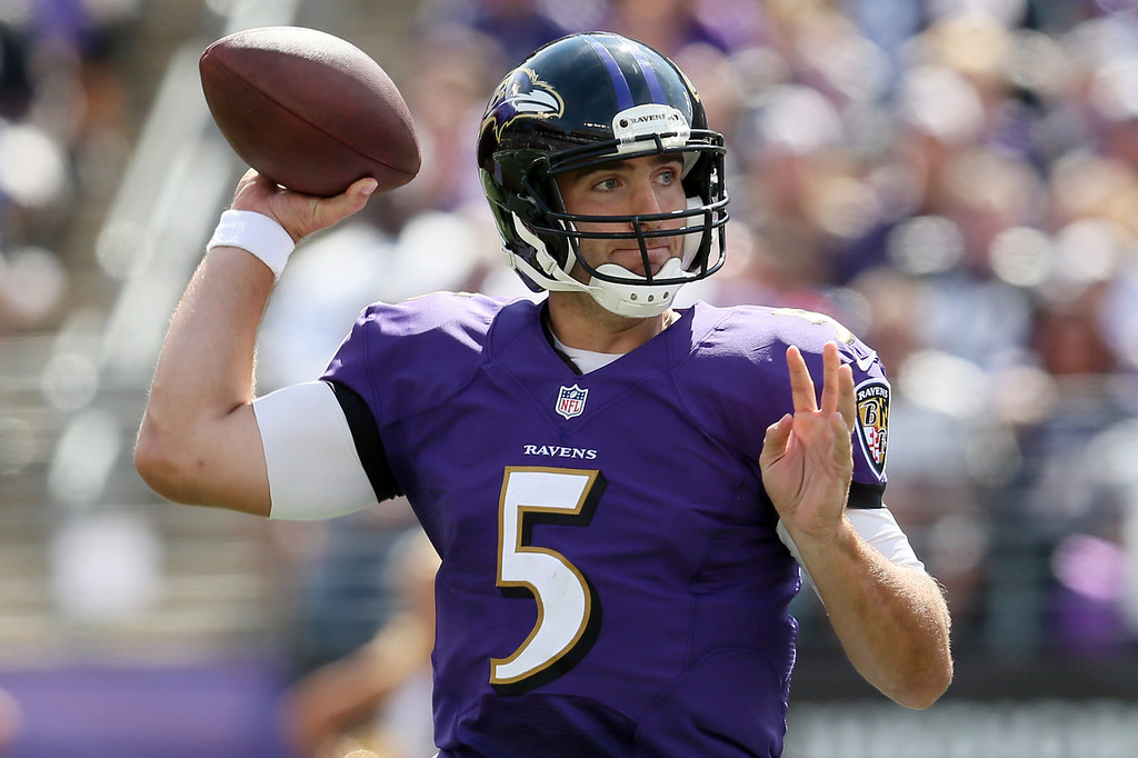 . Quarterback Joe Flacco #5 of the Baltimore Ravens throws a first half pass against the Cleveland Browns at M&T Bank Stadium on September 15, 2013 in Baltimore, Maryland.  (Photo by Rob Carr/Getty Images)