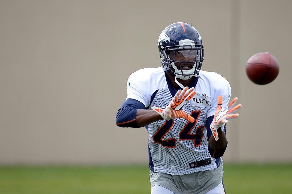 . Denver Broncos cornerback Champ Bailey (24) back at practice September 19, 2013, at Dove Valley. (Photo by John Leyba/The Denver Post)