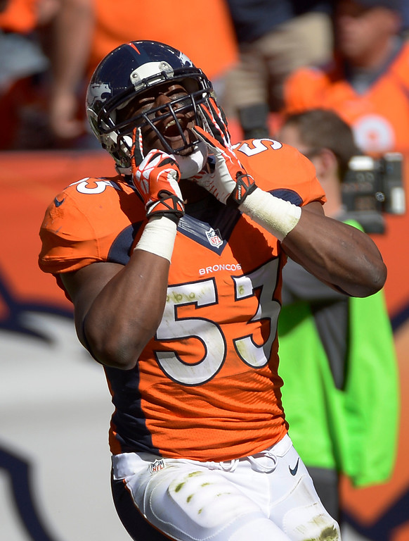 . DENVER, CO - SEPTEMBER 29: Denver Broncos linebacker Steven Johnson (53) reacts after a play during the first quarter. The Denver Broncos took on the Philadelphia Eagles at Sports Authority Field at Mile High in Denver on September 29, 2013. (Photo by Joe Amon/The Denver Post)