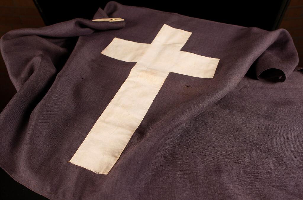 . The Chaplain\'s flag on display at Kapaun Mount Carmel High School in Wichita, Kansas. (Bo Rader/Wichita Eagle/MCT)