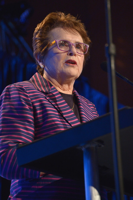 . NEW YORK, NY - OCTOBER 16:  Womens Sports Foundation Founder Billie Jean King speaks onstage during the 34th annual Salute to Women In Sports Awards at Cipriani, Wall Street on October 16, 2013 in New York City.  (Photo by Mike Coppola/Getty Images for the Women\'s Sports Foundation)