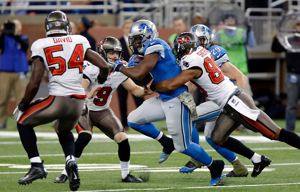 . Detroit Lions wide receiver Jeremy Ross (12) is stopped Tampa Bay Buccaneers wide receiver Russell Shepard (89) after a 42-yard kickoff return during the first quarter of an NFL football game in Detroit, Sunday, Nov. 24, 2013. (AP Photo/Duane Burleson)