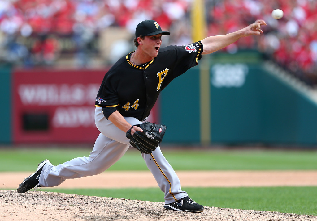 . ST LOUIS, MO - OCTOBER 04:  Tony Watson #44 of the Pittsburgh Pirates pitches against the St. Louis Cardinals during Game Two of the National League Division Series at Busch Stadium on October 4, 2013 in St Louis, Missouri.  (Photo by Elsa/Getty Images)