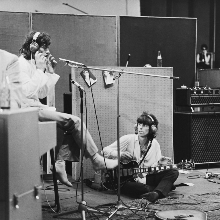 . Rolling Stones Mick Jagger and Keith Richards at the Olympic Sound Studios while making Jean Luc Godard\'s semi documentary movie \'Sympathy for the Devil\', aka \'One Plus One\', June 1968. (Photo by Keystone Features/Hulton Archive/Getty Images)