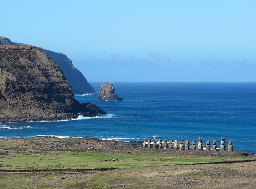 . This August 2012 photo shows fifteen moais standing watch at Tongariki on Easter Island.  The largest moais on the 720-foot-long platform weighs 97 tons. The site was restored between 1992 and 1996 at a cost of over $2 million, paid for by the Japanese government(AP Photo/Karen Schwartz)