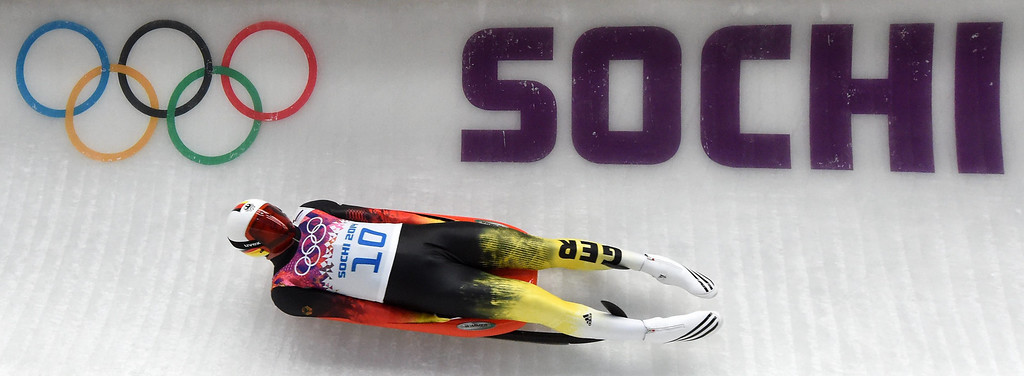 . Felix Loch of Germany in action during the Men\'s Luge third run at Sliding Center Sanki at the Sochi 2014 Olympic Games, Krasnaya Polyana, Russia, 08 February 2014.  EPA/Tobias Hase