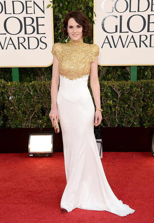 . Actress Michelle Dockery arrives at the 70th Annual Golden Globe Awards held at The Beverly Hilton Hotel on January 13, 2013 in Beverly Hills, California.  (Photo by Jason Merritt/Getty Images)