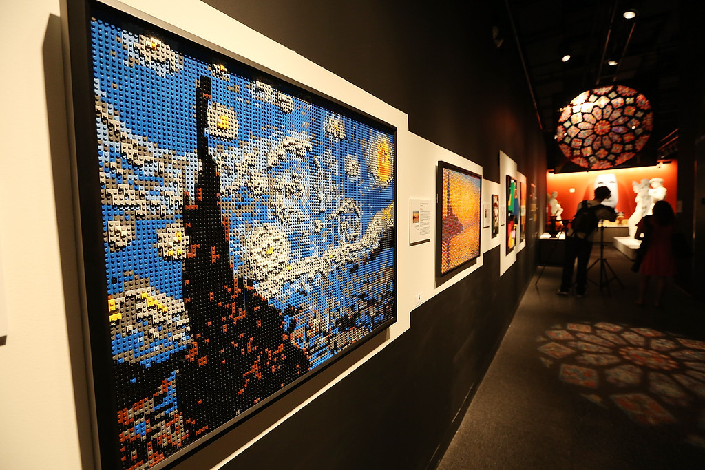 . Pieces including \'Starry Night,\' created by \'Nathan Sawaya, are displayed with others in the \'Art of the Brick\' show at Discovery Times Square on June 18, 2013 in New York City. (Photo by Mario Tama/Getty Images)