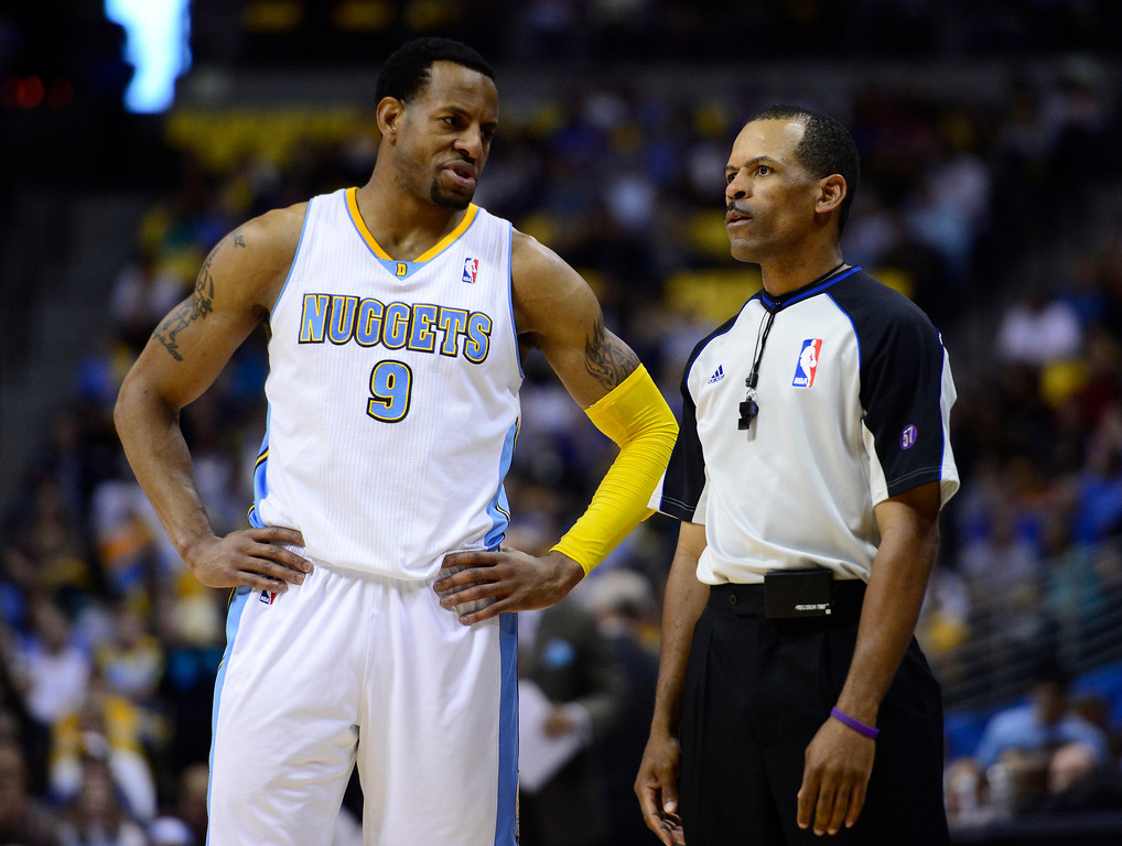 . Denver Nuggets shooting guard Andre Iguodala (9) complains about a call in the second quarter. The Denver Nuggets took on the Golden State Warriors in Game 5 of the Western Conference First Round Series at the Pepsi Center in Denver, Colo. on April 30, 2013. (Photo by AAron Ontiveroz/The Denver Post)