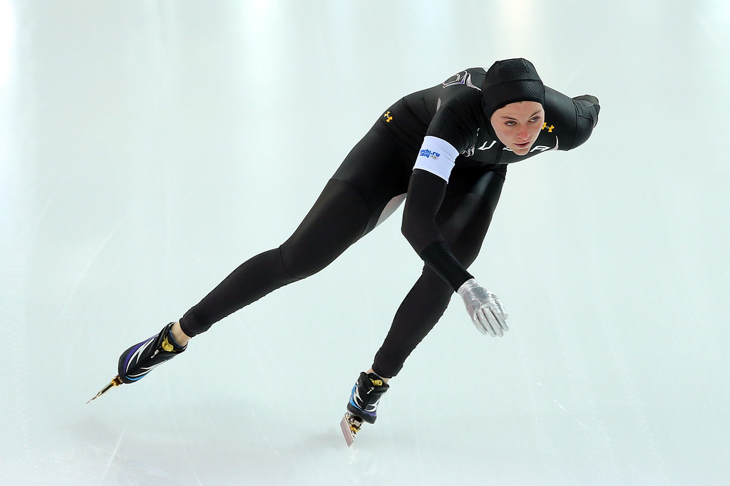 . Heather Richardson of the United States competes during the Women\'s 1000m Speed Skating event on day 6 of the Sochi 2014 Winter Olympics at Adler Arena Skating Center on February 13, 2014 in Sochi, Russia.  (Photo by Quinn Rooney/Getty Images)
